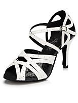 Для женщин Латина Искусственное волокно Современный Классика Мода Для закрытой площадки С пряжкой Высокий каблук Черно-белый