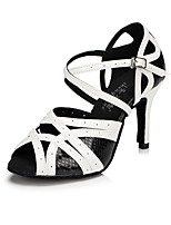 Women's Latin Synthetic Microfiber PU Modern Style Classical Fashion Indoor Buckle High Heel Black-white Customizable