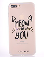 cheap -Case For Apple iPhone 7 Plus iPhone 7 Frosted Translucent Pattern Back Cover Cat Word / Phrase Soft TPU for iPhone 7 Plus iPhone 7 iPhone