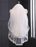 cheap -Two-tier Classy Lace Wedding Veil Fingertip Veils 53 Ruffles Lace Tulle