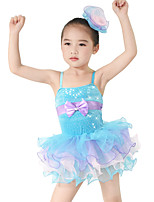 Kids' Dancewear Dresses Children's Performance Spandex Elastic Velvet Stretch Satin Bow(s) Crystals/Rhinestones Sleeveless Natural