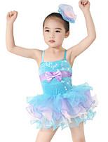 Tenues de Danse pour Enfants Robes Enfant Spectacle Spandex Élastique Velours Satin Elastique Nœud papillon Sans manche Taille moyenne