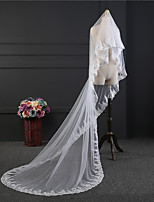3M Luxury Handmade Wedding Veil One-tier Chapel Veils Lace Applique Edge Lace Tulle