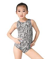Balletto Body Per donna Per bambini Esibizione Elastico Elastene Con strass Licra Paillettes Senza maniche Naturale Calzamaglia