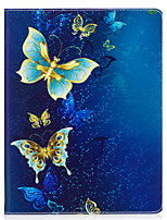 cheap -Case For IPad 2 3 4 Air Air 2 Pro 9.7'' Case Cover Golden Butterfly Pattern PU Material Three Fold Flat Computer Shell Phone Case