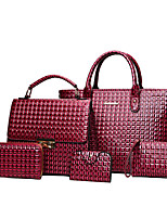 Women Bags All Seasons PU Bag Set with Pattern / Print for Casual Office & Career Blue Black Red Gray Brown