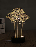 1 Set, Popular Home Acrylic 3D Night Light LED Table Lamp USB Mood Lamp Gifts, Rose
