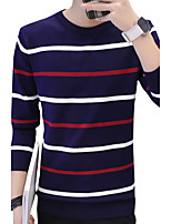 cheap -Men's Pullover - Striped Print Round Neck