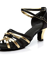 Women's Latin Silk Heel Performance Customized Heel Black/Gold Customizable