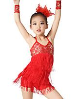 Latin Dance Outfits Women's Children's Performance Elastic Elastane Sequined Lycra Tassel(s) Paillette Sleeveless Natural Dresses