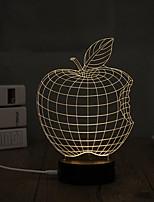1 Set, Popular Home Acrylic 3D Night Light LED Table Lamp USB Mood Lamp Gifts, Apple