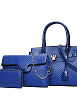 Women Bags All Seasons PU Bag Set Zipper for Casual Formal Blue Gold White Black Red