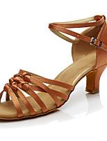 Women's Latin Silk Heel Performance Customized Heel Nude Brown Customizable