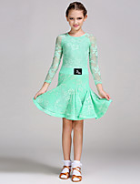 Latin Dance Dresses Children's Performance Lace Tulle Lace Long Sleeve Natural Dress