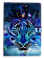 cheap -For Apple iPad Mini 4 iPad Mini 3 2 1 Case Cover Wolf Pattern PU Material Three Fold Flat Computer Shell Phone Case