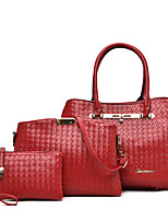 Women Bags All Seasons PU Bag Set Zipper for Casual Office & Career Blue Black Red Beige