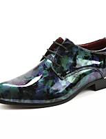 Недорогие -Муж. обувь Лакированная кожа Весна Осень Удобная обувь Туфли на шнуровке Заклепки для Повседневные Для вечеринки / ужина Черный
