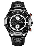 Hombre Reloj Deportivo Reloj de Moda Reloj Casual Chino Cuarzo Calendario Cuero Auténtico Banda Cool Casual Elegantes Negro Marrón