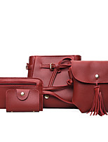 Women Bags All Seasons PU Bag Set Zipper for Casual Office & Career Red Blushing Pink Gray Brown Army Green