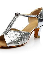 Women's Latin Silk Heel Performance Customized Heel Silver Black Customizable