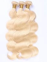 Human Hair Malaysian Natural Color Hair Weaves Body Wave Hair Extensions 3 Pieces Blonde