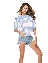 cheap -Women's Daily Holiday Casual Street chic Spring Fall Shirt,Striped Boat Neck ½ Length Sleeve Polyester