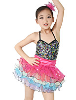 Kids' Dancewear Dresses Children's Performance Spandex Elastic Velvet Stretch Satin Pleated Paillette Sleeveless Natural Dresses