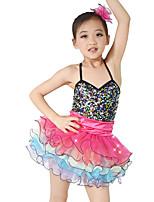 Tenues de Danse pour Enfants Robes Enfant Spectacle Spandex Élastique Velours Satin Elastique Plissé Paillette Sans manche Taille moyenne