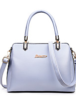 Women Bags All Seasons PU Tote Zipper for Casual Office & Career Blue White Black Silver Blushing Pink