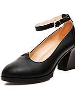 Women's Heels Formal Shoes Spring Fall Cowhide Dress Party & Evening Office & Career Buckle Chunky Heel Black 2in-2 3/4in