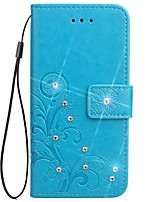 cheap -Case For Xiaomi Xiaomi Redmi 2 Card Holder Wallet Rhinestone with Stand Flip Magnetic Pattern Embossed Full Body Cases Solid Color Flower
