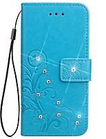 Недорогие -Кейс для Назначение Xiaomi Xiaomi редми 2 Бумажник для карт Кошелек Стразы со стендом Флип Магнитный С узором Рельефный Чехол Сплошной