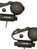 2pcs v6 multifuncional de 2 vías radio bt interphone casco de motocicleta casco de intercomunicación bluetooth