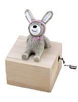Music Box Toys Rabbit Carousel Plastics Wood Lovely Pieces Unisex Birthday Gift