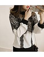Camicia Da donna Per uscire Casual Romantico Primavera,Tinta unita Colletto alla coreana Altro Manica lunga Medio spessore