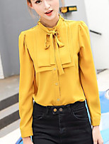 Women's Casual/Daily Simple Blouse,Solid Stand Long Sleeves Polyester Others