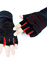 Men's Cotton Wrist Length Half Finger Soak Off Outdoor Solid Sports Spring/Fall Summer Cycling Bike Military Gloves Black/Red