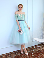 Ball Gown Princess Off-the-shoulder Tea Length Tulle Graduation Cocktail Party Dress with Beading Lace by SG