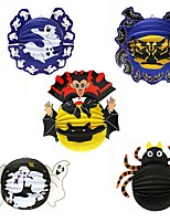 1PC Festival Decoration Halloween Paper Pendant Lantern Ornaments Spider Bats Props Haunted Houses Bar Parties Random style