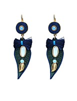 Lureme Women's Bohemian Jewelry Handmade Leaf with Velvet Line Crystal Dangle Earrings