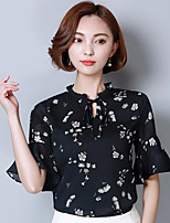 Women's Going out Casual/Daily Street chic Summer Blouse,Floral Round Neck Half Sleeves Cotton Medium