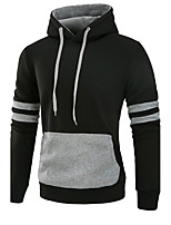 Men's Plus Size Plus Size Casual/Daily Simple Hoodie Solid Color Block Patchwork Hooded Micro-elastic Cotton Long Sleeve Fall Winter