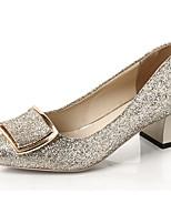 Для женщин Обувь на каблуках Удобная обувь Весна Полиуретан Для праздника На толстом каблуке Золотой Черный Серебряный 7 - 9,5 см