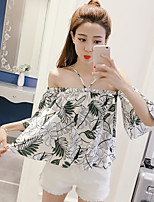 Women's Casual/Daily Simple Blouse,Floral Boat Neck Half Sleeves Polyester