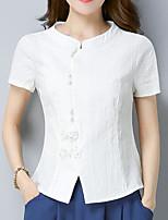Для женщин На каждый день Рубашка V-образный вырез,Простое Однотонный С короткими рукавами,Лён Другое