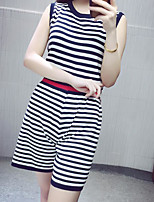 Women's Casual/Daily Simple Summer T-shirt Pant Suits,Solid Striped Round Neck Sleeveless