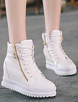 Women's Shoes PU Fall Comfort Boots Low Heel Round Toe For Casual White Black