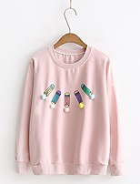 T-shirt Da donna Per uscire Casual Semplice Romantico Moda città Estate Autunno,Tinta unita Con stampe Rotonda Cotone Manica lungaSottile