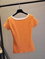 Tee-shirt Femme,Couleur Pleine Sortie simple Manches Courtes Col Arrondi Polyester