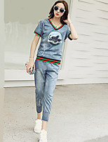 Women's Casual/Daily Holiday Simple Cute T-shirt Pant Suits,Solid Floral Print Round Neck
